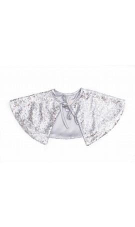 Rent DOLLY by Le Petit Tom Sequin Capelet in Silver