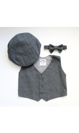 Rent Four Tiny Cousins Charcoal Herringbone Vest, Cap, and Bow Tie Set