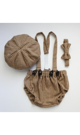 Rent Four Tiny Cousins Arthur Newsboy Outfit in Brown Houndstooth