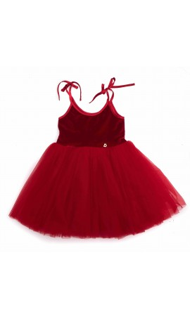 Rent DOLLY by Le Petit Tom Velvet Sabrina Tutu Dress in Red